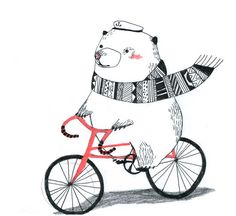 Hello little bear on bicycle Illustration
