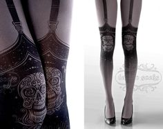 Tattoo Tights,  Day of the Dead garters print Asphalt thigh highs illusion one size full length closed toe printed tights pantyhose by tattoosocks on Etsy https://www.etsy.com/listing/199927843/tattoo-tights-day-of-the-dead-garters