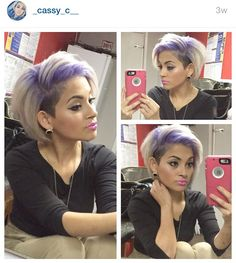 Platinum blonde with purple rooty ombré . Instagram @_cassy_c__