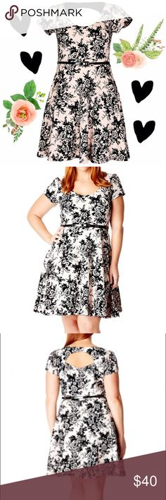 Romantic Flocked Fit & Flare Dress City Chic XXL Work this season's penchant for prints with our Nougat Black Romantic Flock Dress. Featuring: * Scoop neckline * Short sleeves * Fitted waistband * Removable belt * Flocked ponte knit fabric * Cutout back * A-line skirt * Fully lined * Outer: 60% Viscose 35% Poly 5% Elastane * Lining: 100% Polyester   Sizing Please note that this item has International Sizing. US Sizing Conversions will appear on the merchandise tag. XS=14W, S=16W, M=18W…