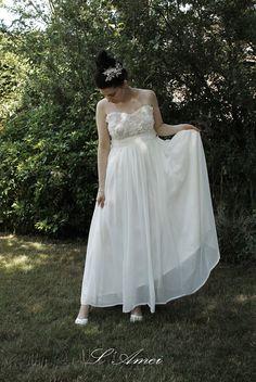 Custom Versatile Flower Lace Wedding Dress Can Be Worn in by LAmei