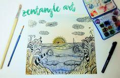 zentangle art con acuarelas - watercolors