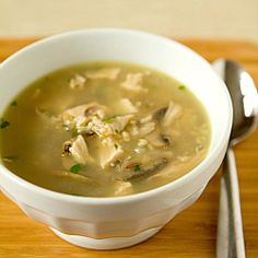Turkey, Mushroom & Wild Rice Soup...directions for the stove top but could easily be done in a slow cooker!