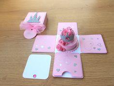 Princess Cake Card /  Birthday Party Invitation - Exploding Box Card on Etsy, $8.49