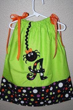 Halloween pillowcase dress with applique by ThePolkaDotLollipop, $26.00