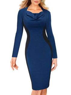 Contrasting Color Square Pleat Neckline Midi Pencil Long Sleeve Dress For Office Ladies on buytrends.com