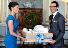 Crown Princess Victoria and Daniel Westling with wedding presents