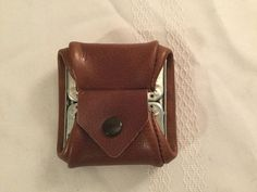 Vintage Leather Folding Coin Purse Metal Frame with Snap Trifold Edwardian Style | eBay