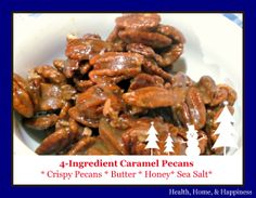 These simple caramel pecans are a favorite treat for the holidays.  Mix up a batch as you chat with company over the kitchen counter, and you will forever be tagged 'an amazing cook!'.