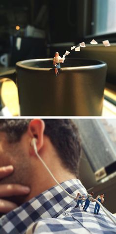 Columbus, Ohio-based brand strategist Derrick Lin has taken a creative collection of photos that visualize miniature office people having to deal with all sorts of hectic, everyday work frustrations. Macro Photography, Creative Photography, Minis, Miniature Calendar, Art Du Monde, Miniature Photography, Tiny World, Miniature Figurines, Mini Things