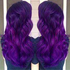 Brilliant purple hair color and long purple hair. Artist credit to come… Pretty Hair Color, Beautiful Hair Color, Hair Color Purple, Hair Colors, Dark Purple, Hair Addiction, Coloured Hair, Bright Hair, Hair Dos