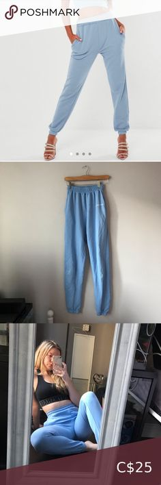 Missguided blue sweats Missguided blue sweats Misguided Tall Size 4, I would say pretty true to size, could fit a 6 Cuffed ankles Missguided Pants & Jumpsuits Leopard Pants, Pink Pants, Baby Blue Sweater, Blue Sweaters, White Culottes, Tie Dye Leggings, White Mini Skirts, Maternity Leggings, Playsuit Romper