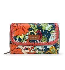 Artist Circle Xlarge Wallet - Seafoam Flower Power
