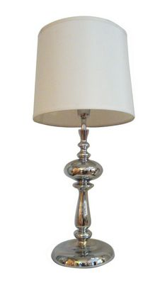 Metal table lamp with white fabric shade