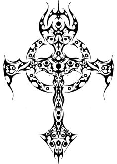 trible cross by giyvin on DeviantArt Celtic Symbols, Celtic Art, Celtic Crosses, Celtic Knots, Trible Tattoos, Skull Furniture, Skull Coloring Pages, Tattoo Templates, Aztec Calendar