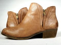 LUCKY BRAND BOOTS 9 BROWN LEATHER Ankle Boots Booties *LOVELY* Size 9 #LuckyBrand #AnkleBoots