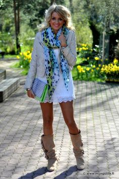 If the skirt was longer or with leggings it would be so cute! Love the boots though:)