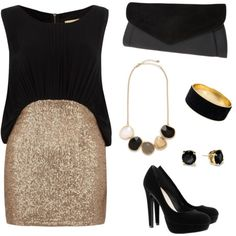 Black fashion Gold Outfit party Outfit chic Sparkle black gold sparkle outfit fashion noir or scintillait tenue mode 767934173945370006 Nye Outfits, New Years Eve Outfits, Night Outfits, Classy Outfits, Fashion Outfits, Womens Fashion, Skirt Outfits, Sparkly Skirt, Looks Style