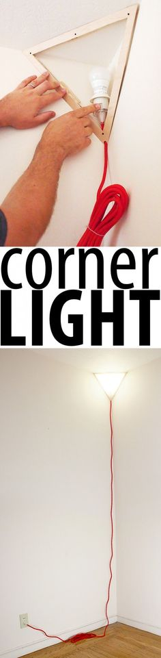 This DIY Corner Lamp is cool...would be better if you could hide the cord better #LampIdeas