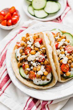Chickpea Gyros — Salt & Baker #Chickpea #garbanzobeans #garbanzos #chickpeas #cook #dinner #vegan #veganrecipes #veganfood #healthylifestyle #healthy #healthyfood #nutrition Vegetarian Gyro Recipe, Vegetarian Food, Healthy Diet Recipes, Snack Recipes, Vegan Recipes, Dinner Recipes, Homemade Tzatziki Sauce, Eating Vegetables, Veggies