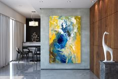 "See our website for additional details on ""abstract art paintings acrylics"". It is actually an outstanding spot for more information. Blue Abstract Painting, Yellow Painting, Abstract Wall Art, Abstract Paintings, Extra Large Wall Art, Office Wall Art, Street Art Graffiti, Texture Painting, Abstract Photography"