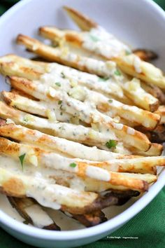 Baked Fries with Garlic Sauce #potatolove #snackattack