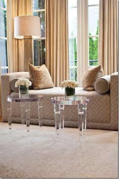 Amy Howard; Lucite Tables..... | More decor lusciousness here: http://mylusciouslife.com/photo-galleries/architecture-and-design-beautiful-buildings-gardens-and-decor/