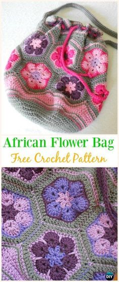 African Flower bag Free Crochet Pattern -#Crochet Drawstring #Bags Free Patterns