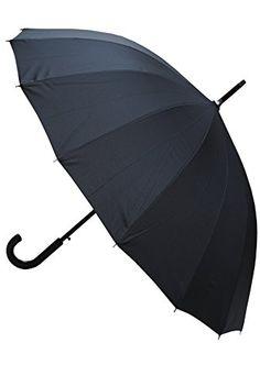 COLLAR AND CUFFS LONDON - Paraguas Clásicos - MUY FUERTE - Antiviento - Automático - Alta Ingeniería Para Luchar Contra El Daño Causado Por Giro - 16 Varillas Para La Fuerza Adicional - Negro Grandes - http://comprarparaguas.com/baratos/de-colores/negro/collar-and-cuffs-london-paraguas-clasicos-muy-fuerte-antiviento-automatico-alta-ingenieria-para-luchar-contra-el-dano-causado-por-giro-16-varillas-para-la-fuerza-adicional-negro-grandes/