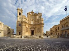 The church in the village of Gharb on the island of Gozo in Malta.