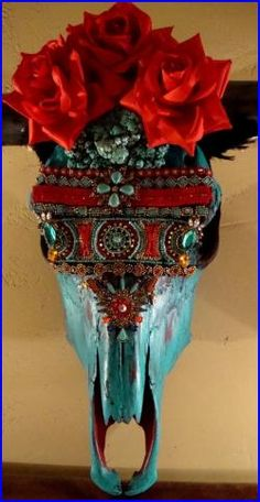 Texas Long Horn Real Cow Skull Black Horns Hand Beaded Decorated Real Turquoise and Red Silk Roses Southwestern Decor