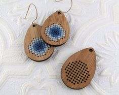 Cross stitch pendant blank skinny rectangle in bamboo by Beadeux