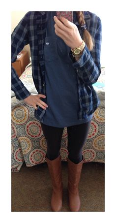 Casual OOTD: flannel- J. Crew Frocket- Southern Tide Leggings- Nike Watch- MK Bracelet- I made it Boots- Rampage