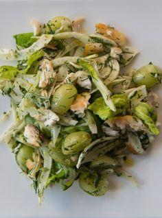 Salade tiède de fenouil, de raisins et de poisson Recettes | Ricardo