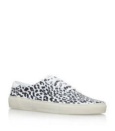 SAINT LAURENT Leopard Print Lace-Up Skate Shoes. #saintlaurent #shoes #