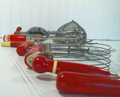 Red Wooden Handled Utensils Collection  Vintage 8 by DivineOrders, $30.00