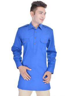 Kalrav Fashion Blue Pathani Cotton Kurta