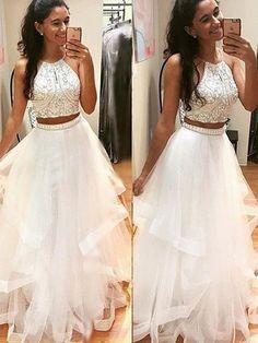 A-Line/Princess Sleeveless Halter Floor-Length Tulle Dress With Beading - MissyDress