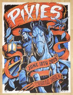 """Pixies - silkscreen concert poster (click image for more detail) Artist: Brandon Heart Venue: T.T. The Bear's Place Location: Cambridge, MA Concert Date: 6/18/2015 Size: 18"""" x 24"""" Edition: 50; signed"""