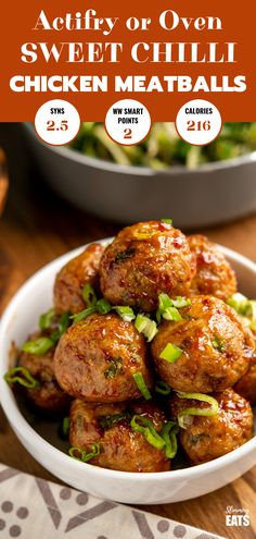Sweet Chilli Chicken Meatballs - easy, delicious, sticky glazed chicken meatballs in a simple sweet chilli sauce. Perfectly cooked in the oven or Actifry! Slimming World and Weight Watchers friendly Slimming World Dinners, Slimming World Recipes Syn Free, Slimming World Diet, Slimming Eats, Slimming World Chilli, Slimming World Sticky Chicken, Actifry Recipes Slimming World, Slimming World Sweets, Chicken Meatball Recipes