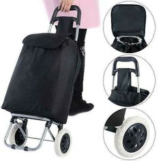 KSEVEN Collapsible Shopping Trolley Push Cart Utility Bag, Grocery Laundry Multi-use, Large Capacity Light Weight Wheeled with Steel Tube and Heavy Duty Waterproof Microfiber Polyester Bag - Travel Shopping Trolley Cart, Folding Shopping Cart, Trolley Bags, Kids Luggage Sets, Luggage Bags, Volume And Capacity, Steel Frame Construction, Rolling Backpack, Carry On Suitcase