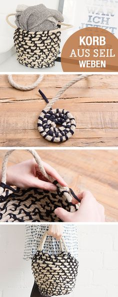 DIY-Anleitung: Korb aus Seil weben, Wohnaccessoires selbermachen / diy living tutorial: how to weave a basket with rope, home decor via DaWanda.com                                                                                                                                                      Mehr