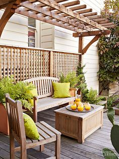 Keep an outdoor structure uncovered to increase the sense of space. Instead of draping a pergola in climbing roses and vines or closing it in with walls, keep it open so the space feels bigger and yard views remain intact.