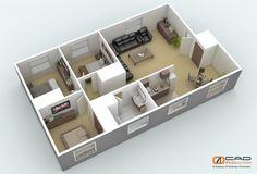4 bedroom house plans 3d - Buscar con Google