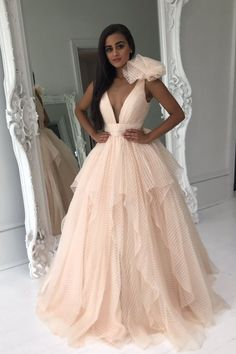 Deep V Neck Champagne Long Prom Dress