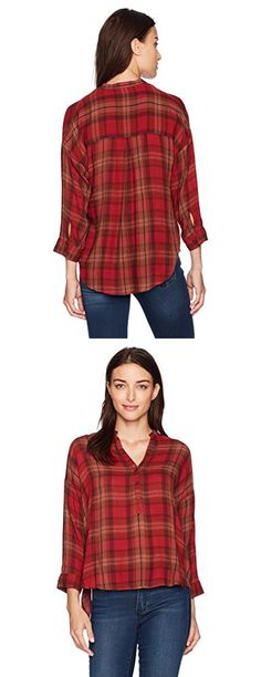 Lucky Brand Women's Plaid Shirt, Red/Multi, Medium