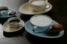 I LOVE Nigella Lawson's Cappuccino & Espresso Cups with beautiful egg-shaped saucers in blue and cream :)