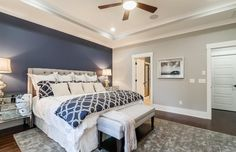 Traditional Master Bedroom with flush light, Ceiling fan, Wayfair Basics 7 Piece Comforter Set, High ceiling, Carpet