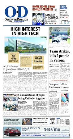 The front page for Monday, April 28, 2014: High interest in high tech