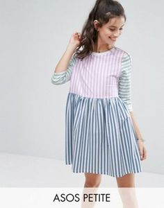 Buy ASOS PETITE Cut About Stripe Mini Smock Dress at ASOS. With free delivery and return options (Ts&Cs apply), online shopping has never been so easy. Get the latest trends with ASOS now. Petite Dresses Casual, Casual Dresses For Women, Short Girl Problems, Asos Petite, Smock Dress, Cotton Dresses, Loose Dresses, Fashion Dresses, Models